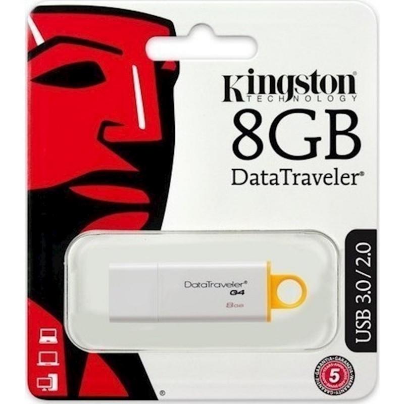 USB 3.0 Flash Disk Kingston DT G4 8GB Λευκό - Κίτρινο