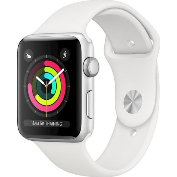 Apple Watch Series 3 GPS 42mm Silver Aluminium Case with Sport Band  White EU