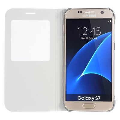 Window View Leather Case for Samsung Galaxy S7 White