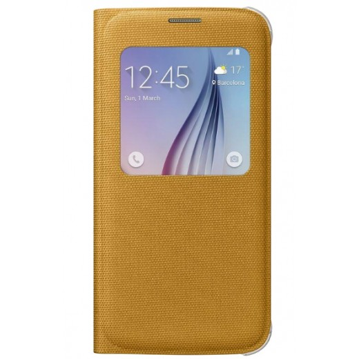 Samsung Θήκη Flip S-View Fabric EF-CG920BYEG G920 Galaxy S6 Κίτρινο