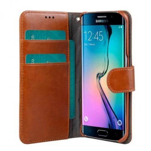 Θήκη Δερμάτινη Melkco Samsung G925 Galaxy S6 Edge Wallet Book Καφέ