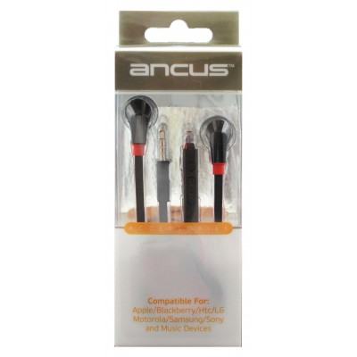 Ancus in-Earbud Stereo 3.5 mm με Καλώδιο Πλακέ και Μικρόφωνο για όλες τις συσκευές Μαύρο - Κόκκινο.